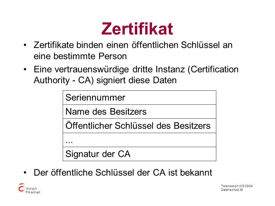 Zertifikat Zertifikate binden einen öffentlichen Schlüssel an eine bestimmte Person.