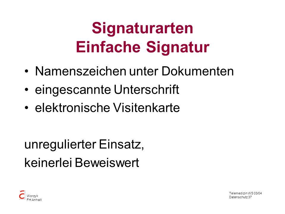 Signaturarten Einfache Signatur