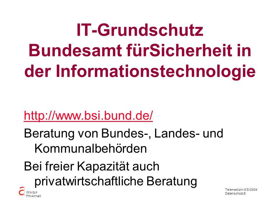 IT-Grundschutz Bundesamt fürSicherheit in der Informationstechnologie