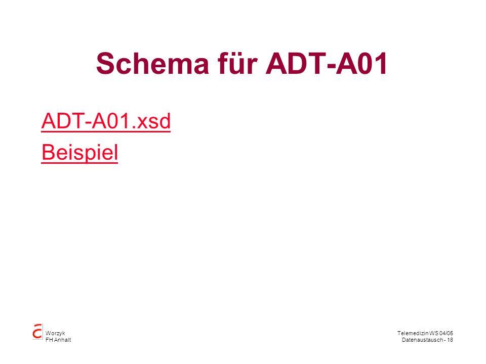 Schema für ADT-A01 ADT-A01.xsd Beispiel