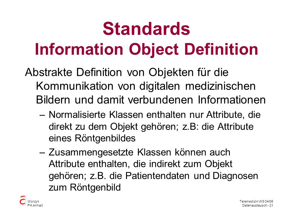 Standards Information Object Definition