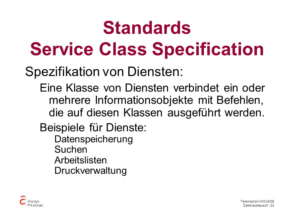 Standards Service Class Specification