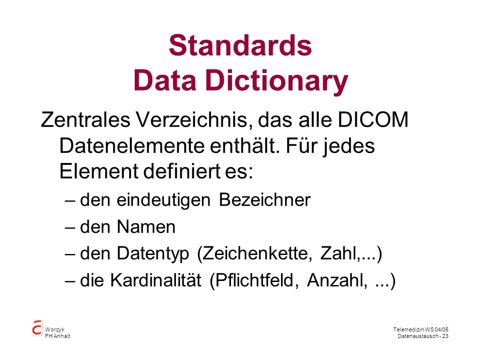 Standards Data Dictionary