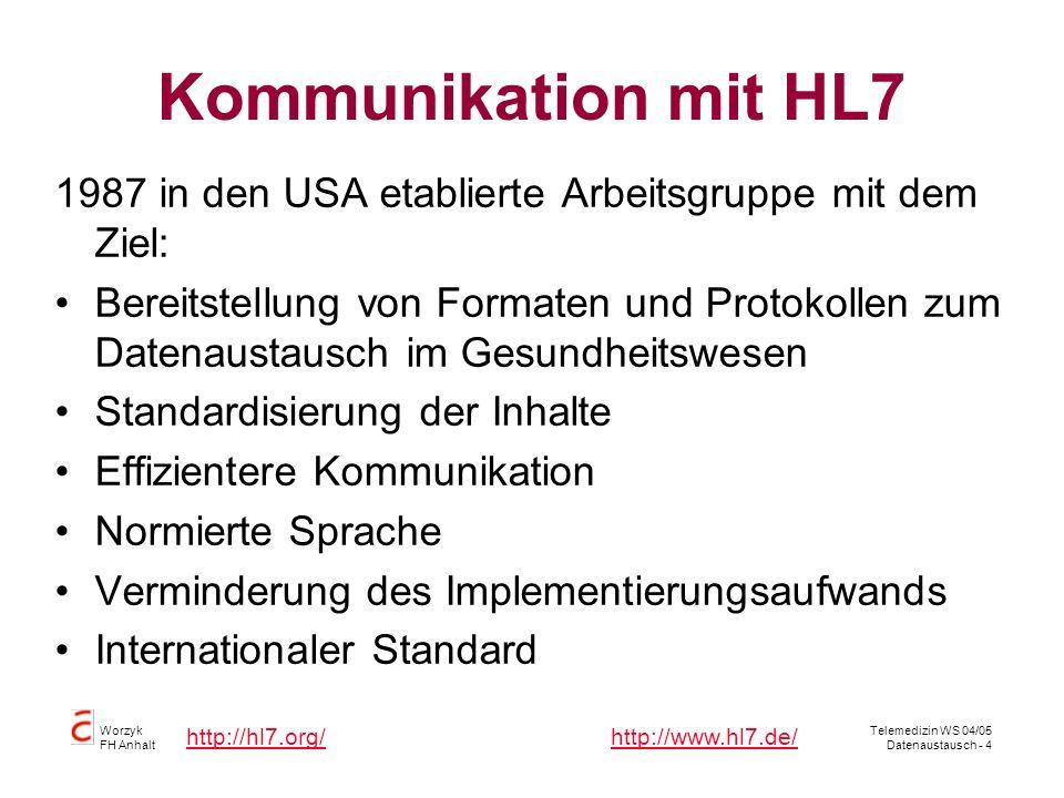 Kommunikation mit HL7 1987 in den USA etablierte Arbeitsgruppe mit dem Ziel: