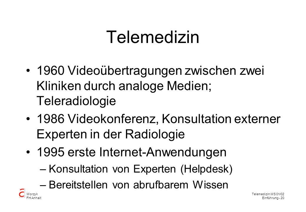 Telemedizin 1960 Videoübertragungen zwischen zwei Kliniken durch analoge Medien; Teleradiologie.
