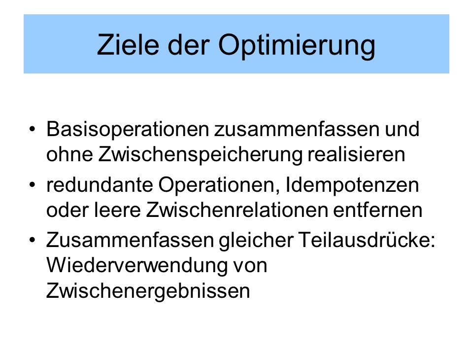 Ziele der Optimierung Basisoperationen zusammenfassen und ohne Zwischenspeicherung realisieren.