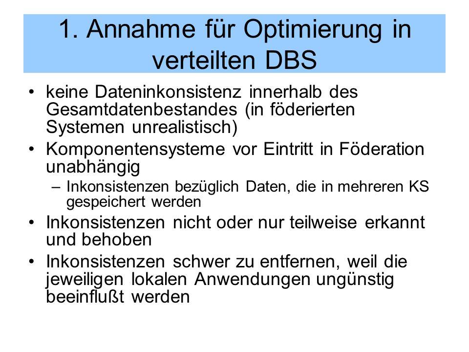 1. Annahme für Optimierung in verteilten DBS