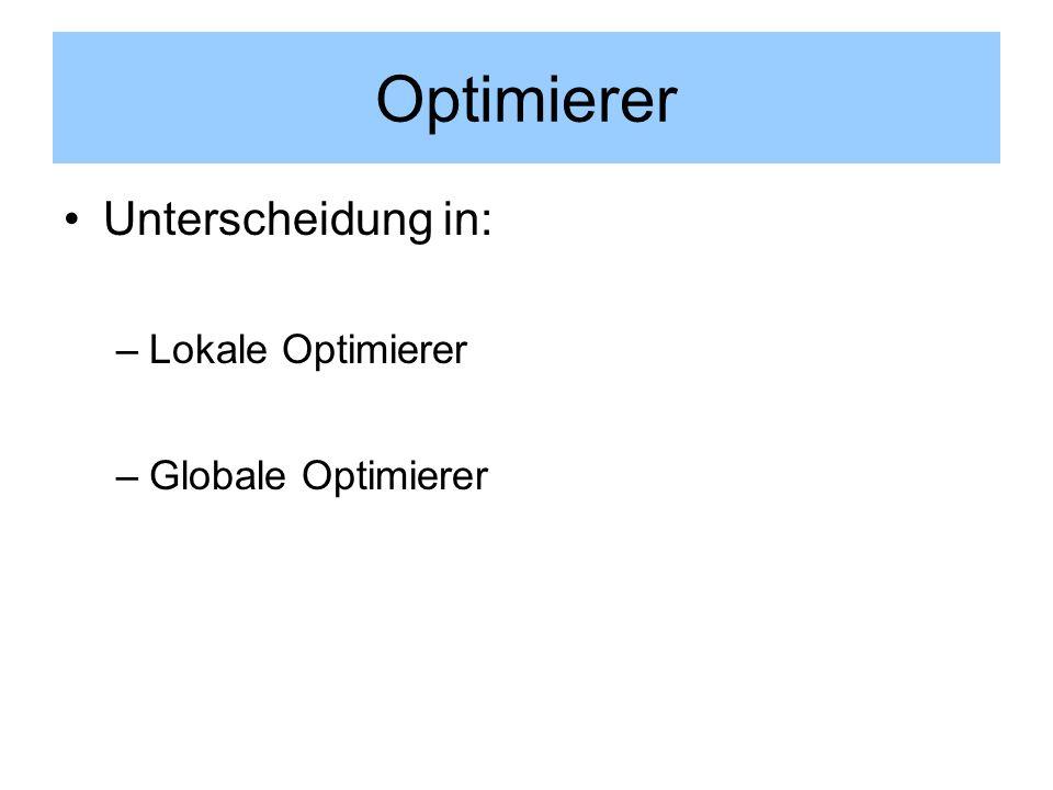 Optimierer Unterscheidung in: Lokale Optimierer Globale Optimierer