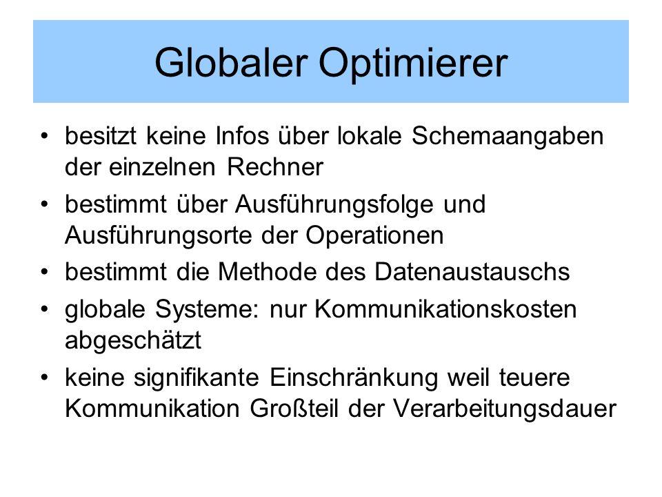 Globaler Optimierer besitzt keine Infos über lokale Schemaangaben der einzelnen Rechner.