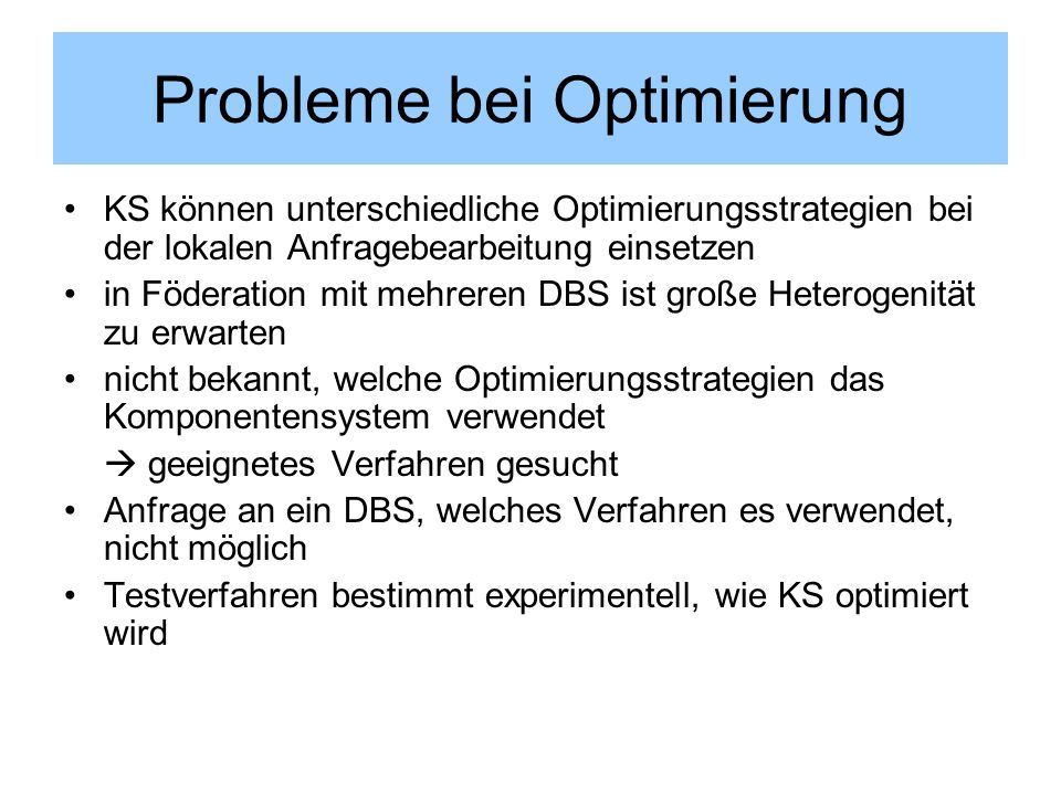 Probleme bei Optimierung