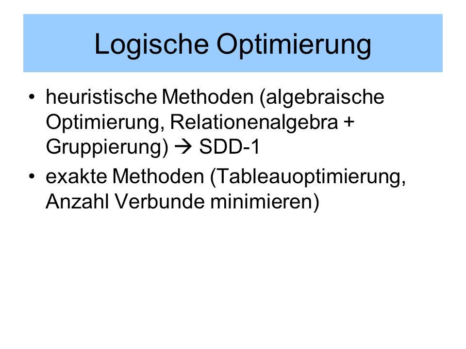 Logische Optimierung heuristische Methoden (algebraische Optimierung, Relationenalgebra + Gruppierung)  SDD-1.