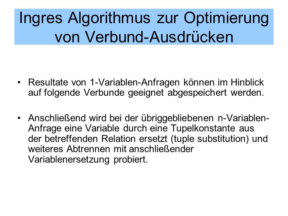 Ingres Algorithmus zur Optimierung von Verbund-Ausdrücken