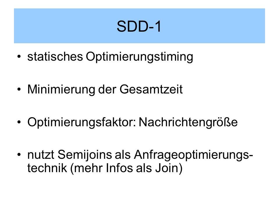 SDD-1 statisches Optimierungstiming Minimierung der Gesamtzeit