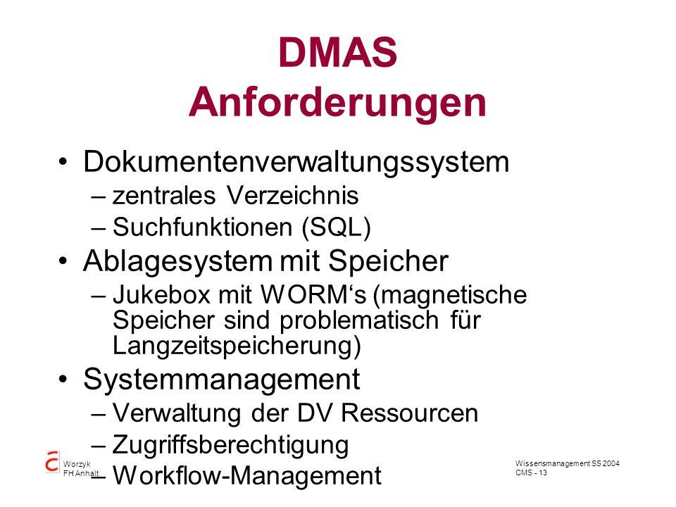 DMAS Anforderungen Dokumentenverwaltungssystem