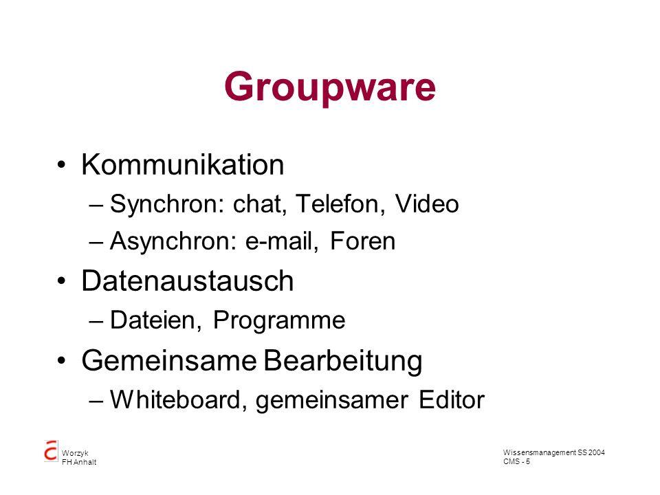 Groupware Kommunikation Datenaustausch Gemeinsame Bearbeitung
