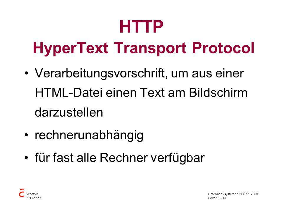 HTTP HyperText Transport Protocol