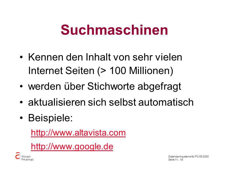Suchmaschinen Kennen den Inhalt von sehr vielen Internet Seiten (> 100 Millionen) werden über Stichworte abgefragt.