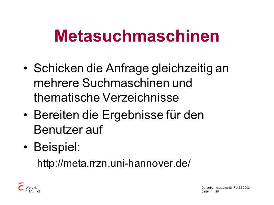 Metasuchmaschinen Schicken die Anfrage gleichzeitig an mehrere Suchmaschinen und thematische Verzeichnisse.