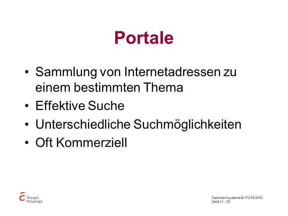 Portale Sammlung von Internetadressen zu einem bestimmten Thema