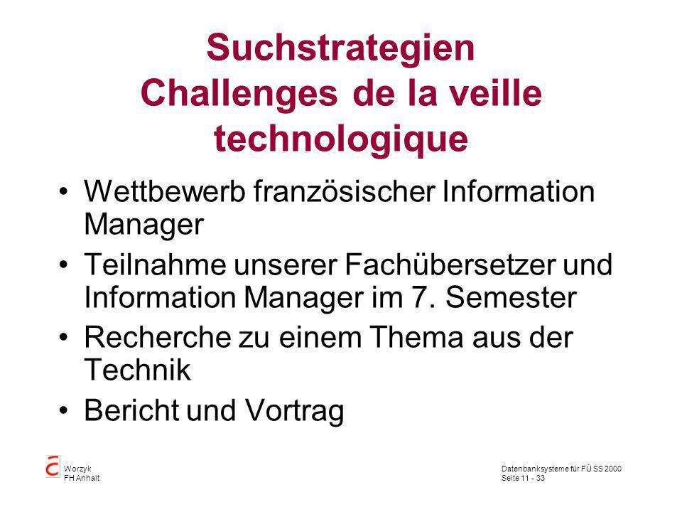 Suchstrategien Challenges de la veille technologique