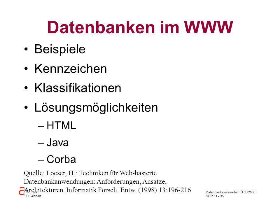 Datenbanken im WWW Beispiele Kennzeichen Klassifikationen