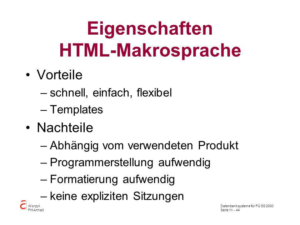 Eigenschaften HTML-Makrosprache