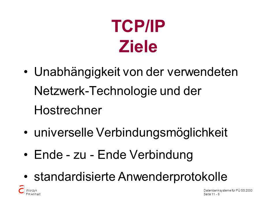 TCP/IP Ziele Unabhängigkeit von der verwendeten Netzwerk-Technologie und der Hostrechner. universelle Verbindungsmöglichkeit.