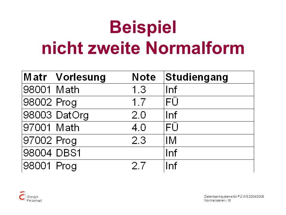 Beispiel nicht zweite Normalform