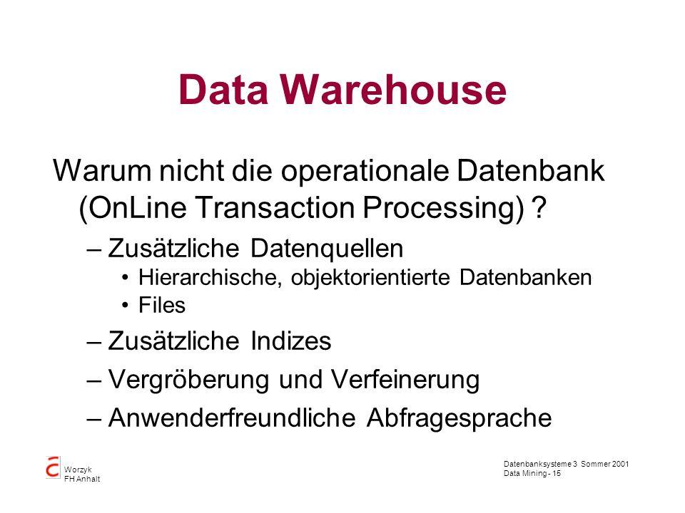 Data Warehouse Warum nicht die operationale Datenbank (OnLine Transaction Processing) Zusätzliche Datenquellen.