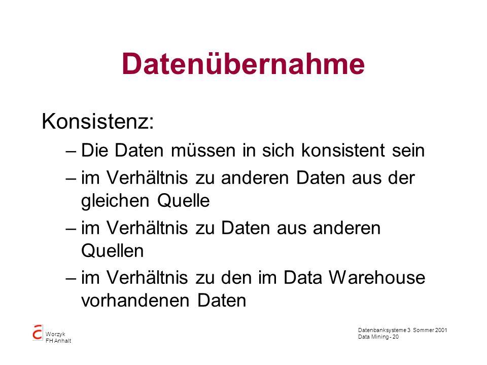 Datenübernahme Konsistenz: Die Daten müssen in sich konsistent sein