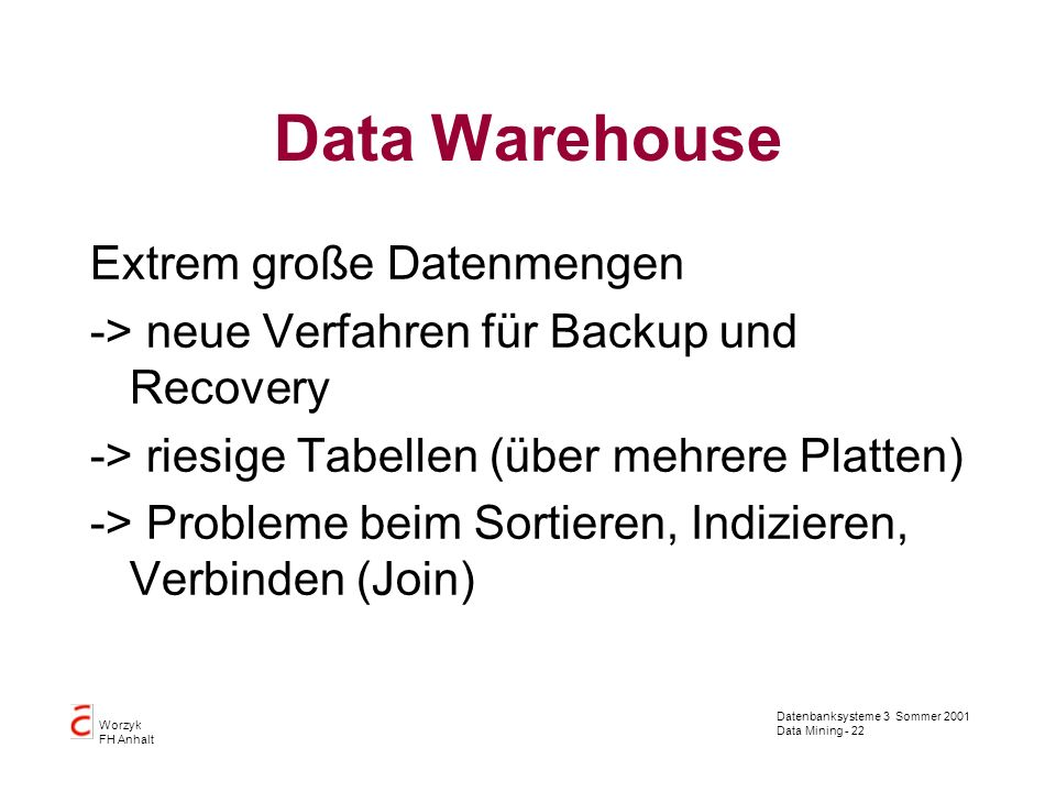 Data Warehouse Extrem große Datenmengen