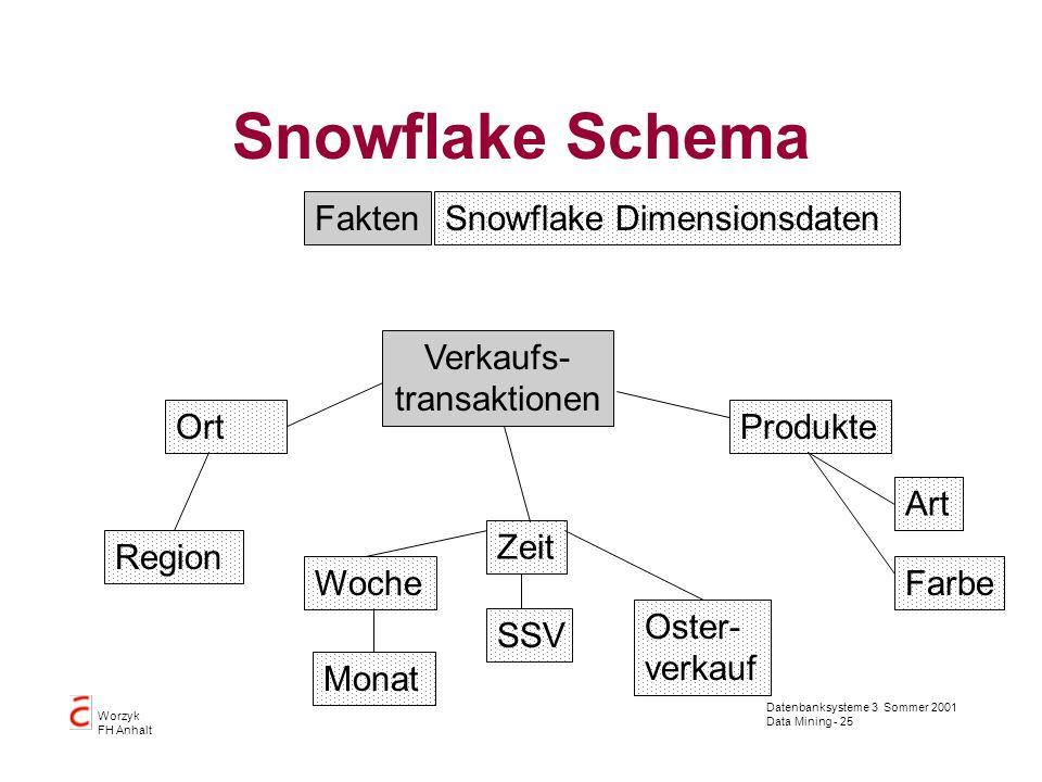 Snowflake Schema Fakten Snowflake Dimensionsdaten Verkaufs-