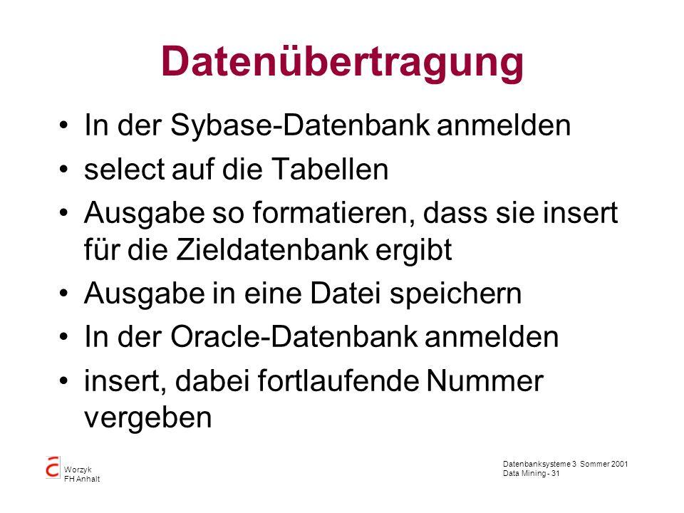 Datenübertragung In der Sybase-Datenbank anmelden