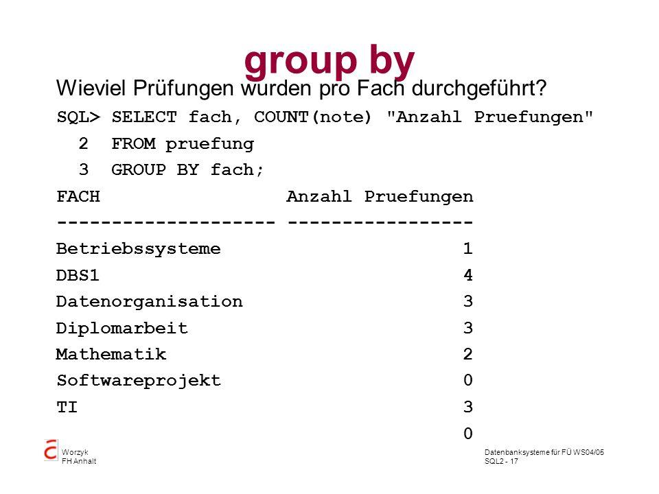 group by Wieviel Prüfungen wurden pro Fach durchgeführt