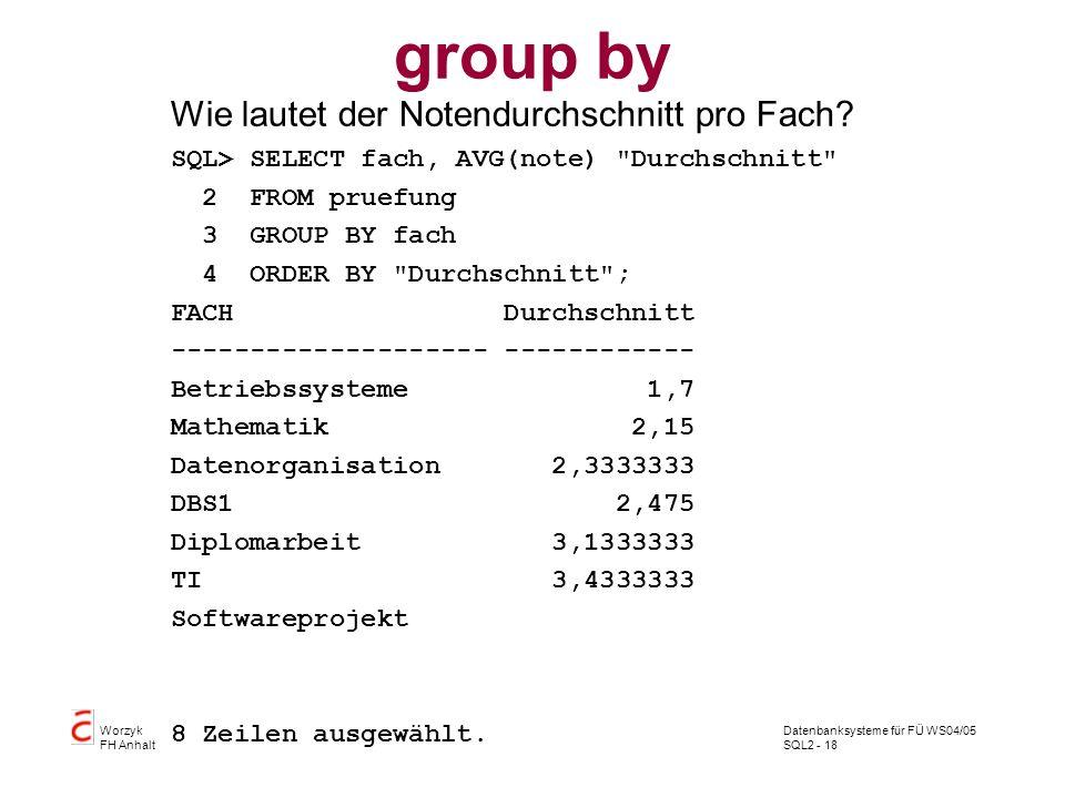 group by Wie lautet der Notendurchschnitt pro Fach