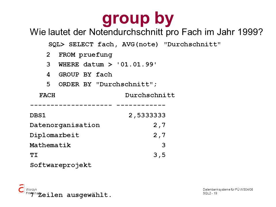 group by Wie lautet der Notendurchschnitt pro Fach im Jahr 1999