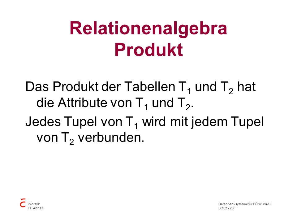 Relationenalgebra Produkt