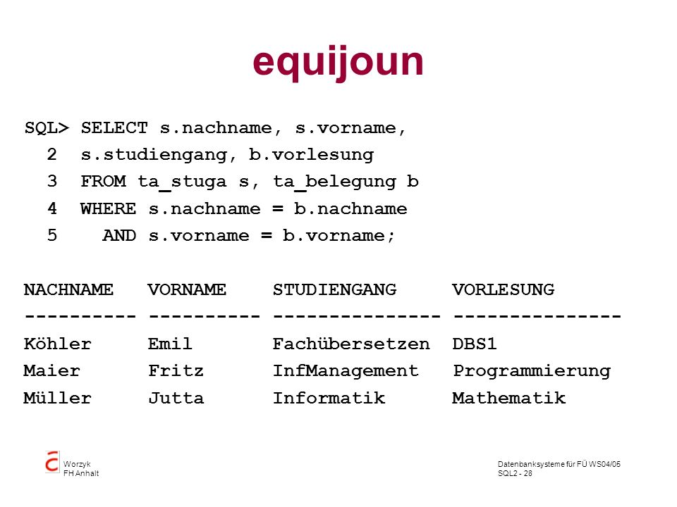 equijoun SQL> SELECT s.nachname, s.vorname,