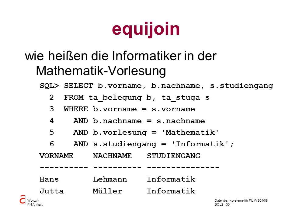 equijoin wie heißen die Informatiker in der Mathematik-Vorlesung
