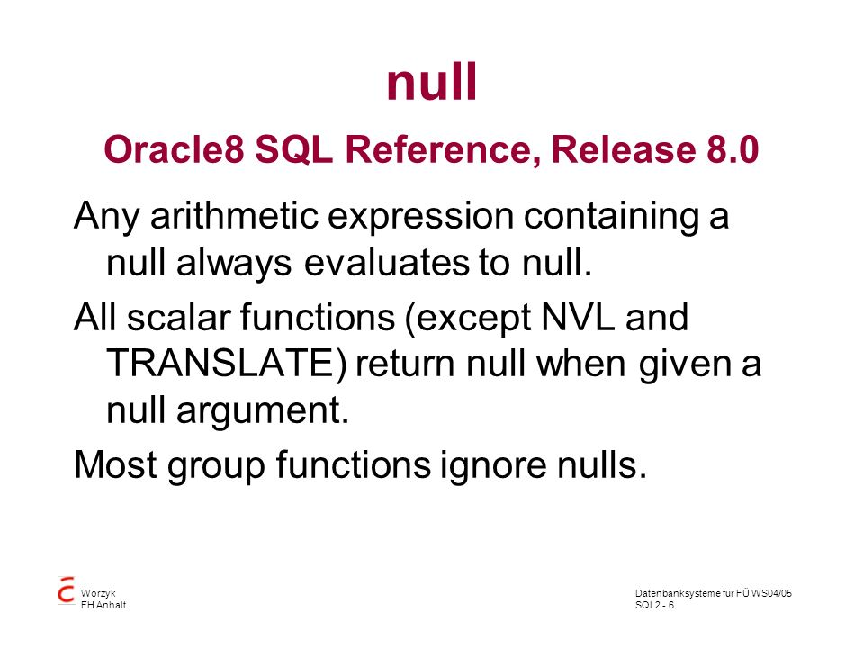 null Oracle8 SQL Reference, Release 8.0