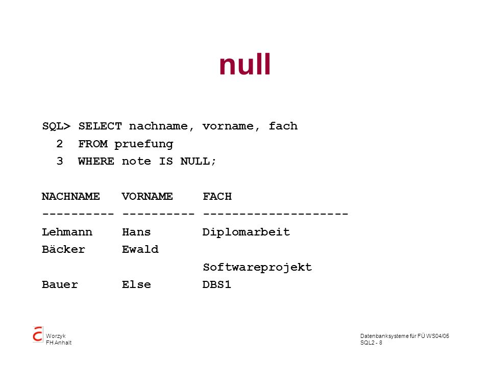 null SQL> SELECT nachname, vorname, fach 2 FROM pruefung
