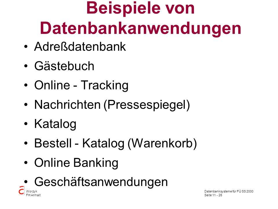 Beispiele von Datenbankanwendungen
