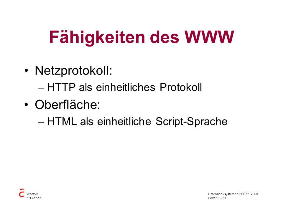 Fähigkeiten des WWW Netzprotokoll: Oberfläche: