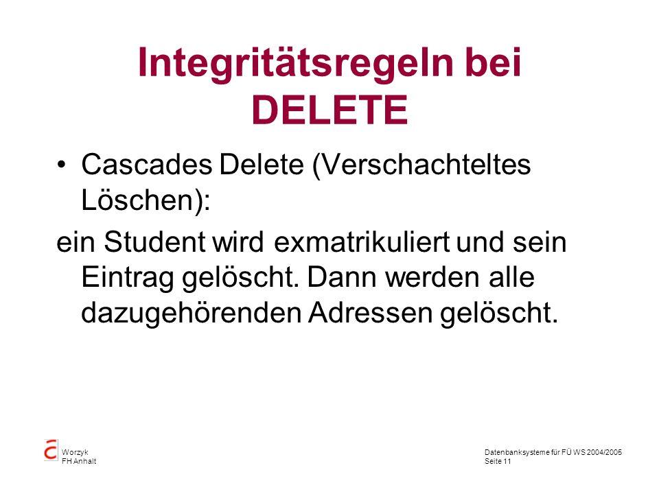 Integritätsregeln bei DELETE