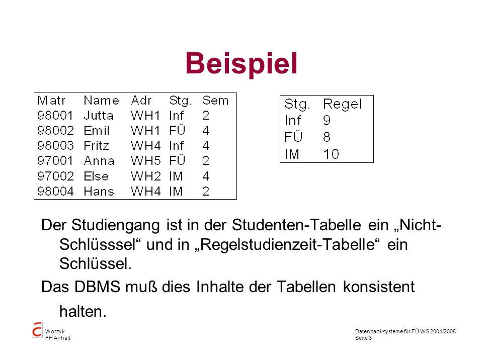"""Beispiel Der Studiengang ist in der Studenten-Tabelle ein """"Nicht-Schlüsssel und in """"Regelstudienzeit-Tabelle ein Schlüssel."""