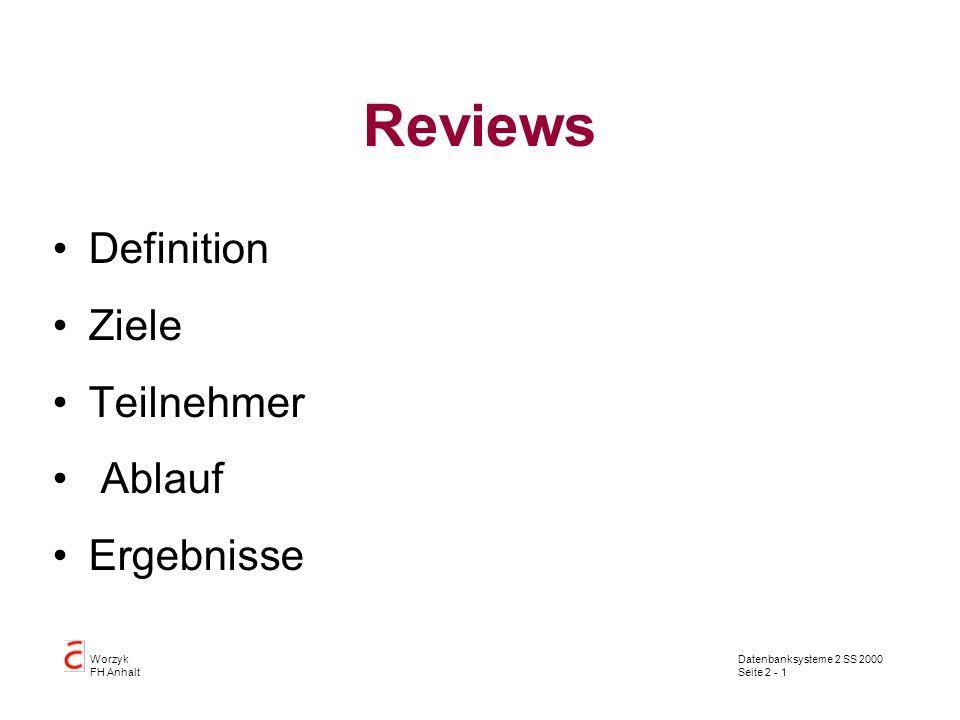 Reviews Definition Ziele Teilnehmer Ablauf Ergebnisse