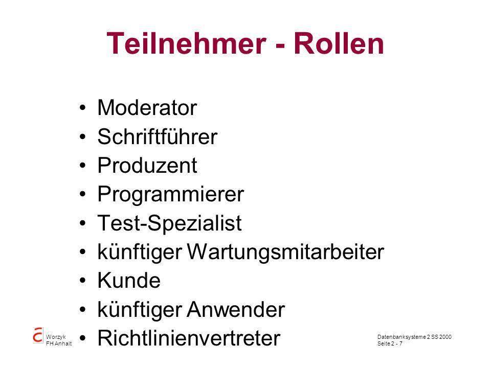 Teilnehmer - Rollen Moderator Schriftführer Produzent Programmierer
