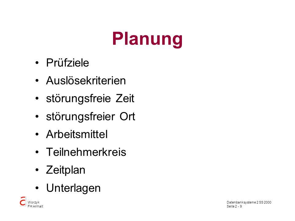 Planung Prüfziele Auslösekriterien störungsfreie Zeit
