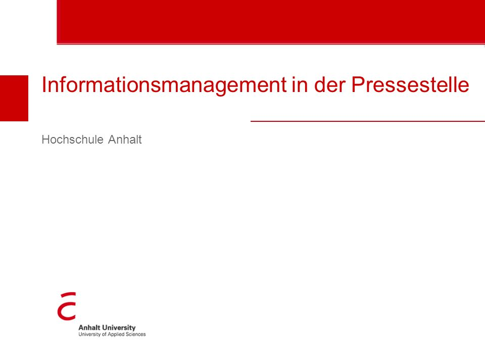 Informationsmanagement in der Pressestelle