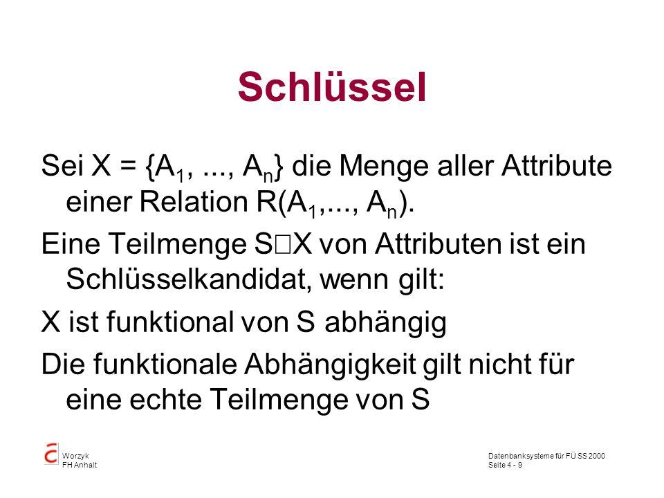 Schlüssel Sei X = {A1, ..., An} die Menge aller Attribute einer Relation R(A1,..., An).
